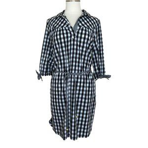 Wrapper Black White Checker Dress Tie Waist